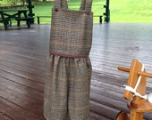 overall short bloomer strap boy girl clothing vintage baby brown wool