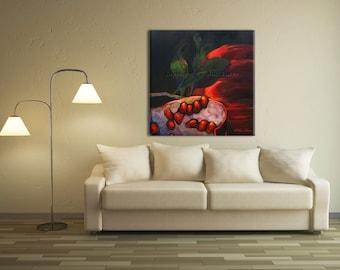 Decorative Art, Nature Wall Art, Canvas Art Print, Red Wall Art, Black Artwork Pomegranate Art, Decorative Wall Art
