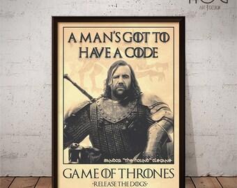 "Sandor ""The Hound"" Clegane -  Quote Retro Poster - Game of Thrones Series"