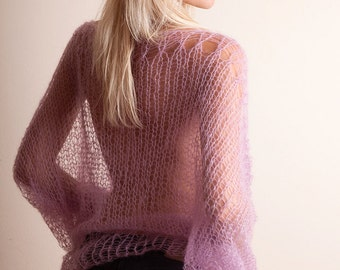 Mohair silk sweater, bat wing, loose jumper, spring clothing, long sleeved, Rose quartz, ethereal sweater, SHEER Top, transparent soft knit