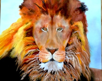 Original Lion Oil Painting on Canvas - Ready to Hang - Hand Painted