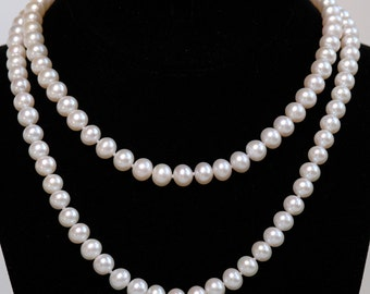 """34"""" Long 6mm Fresh Water Cultured Pearl Necklace"""