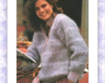 Instant PDF Download Vintage Knitting Pattern to make A Ladies Classic V Neck Raglan Moss Stitch Sweater Pullover Jumper Top