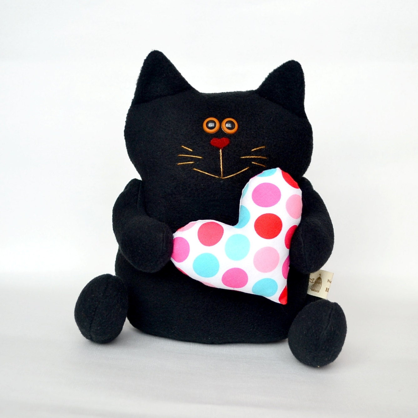 black cat stuffed animals cat with heart by luckytoysstudio. Black Bedroom Furniture Sets. Home Design Ideas