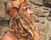 "Headband, Turban, burnt orange, ""Knot"", Haarband, Turban, henna orange"