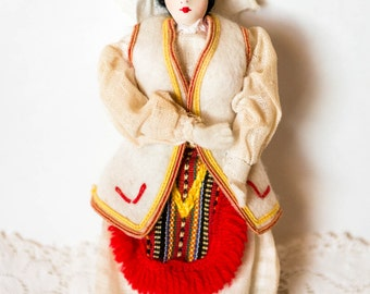 Vintage European Folk Art Doll - Romanian Cloth Souvenir Doll - Traditional Costume European Doll