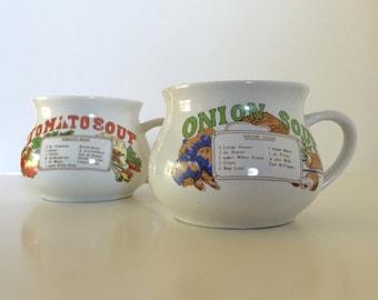 Vintage Soup Bowls/Mugs - Set of 2 - Tomato Soup & Onion Soup with Recipe