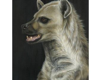 "Hyena Fine Art Original Acrylic Painting | ""Misunderstood"" (36x48inches) By Magda Opoka | Wildlife Art | Realism | Animal"