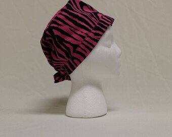 Hot Pink Zebra Stripes Surgical Scrub Cap Chemo Hat