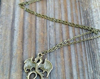 Mal's Gold Dragon Necklace, Descendants Inspired Dragon Necklace, Maleficent Necklace, Mal Costume Jewelry, Dragon Jewelry, Gold or Bronze