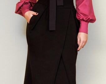 """Black woman skirt """"Tulip"""", plus sizes skirt, long woman skirt, elegant skirt, maxi skirt"""