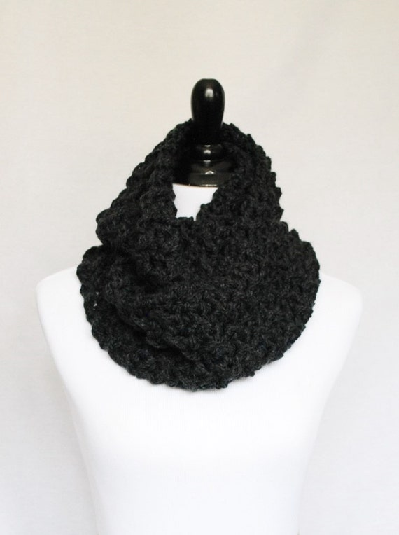 Gray Infinity Scarf, Chunky Cowl, Crochet Neck Warmer - Dark Gray, Charcoal Gray, Moss Stitch