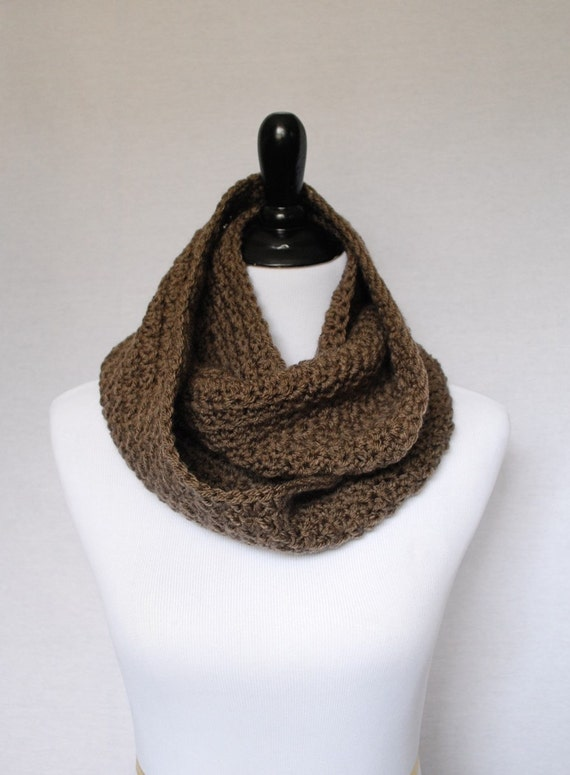 Brown Crochet Infinity Scarf, Taupe Cowl, Neck Warmer, Wrap Scarf