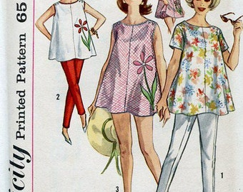 FREE US SHIP Uncut Maternity Wardrobe Blouse Top Pants Bloomer Panties Bust 32, 34 Vintage Retro 1960's 60's Simplicity 4353  Sewing Pattern