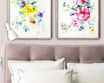 Color Splash, flower art, SET OF 2, flower wall print, flower wall décor, flower abstract art, colorful flower art, watercolor flower