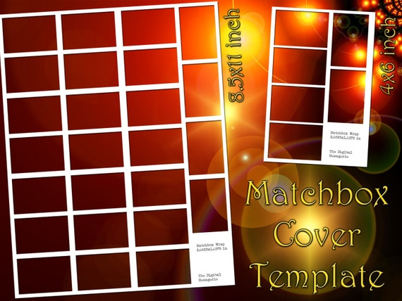 Book Cover Template Gimp : Matchbox cover templates inch a sheets png