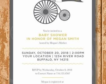 Bike Baby Shower Invite, Baby Shower Invitation, Gender Neutral Baby Shower Invite, Printable, Customized