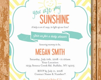 You are my Sunshine Baby Shower Invite, Sunshine Baby Invite, Gender Neutral Baby Shower Invite, Printable, Customized