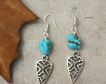64 Turquoise howlite nugget with antiqued silver southwestern charms and sterling silver ear wires