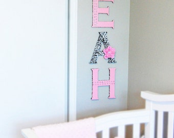 9 inches letters for Nursery or Child's Bedroom. Pink and Black theme. Personalized name. Nursery wall letters. Baby's name, Girl's name