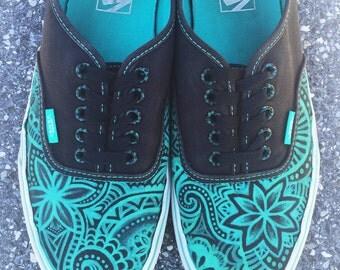 Floral Swirl Handpainted Canvas Shoes - Vans, Toms, Converse, Keds