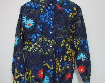 long sleeve body suit / 1970s vintage / collared / blue floral