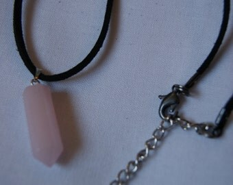 Choker Necklace with Rose Quartz Hexagonal Pointed Pendant