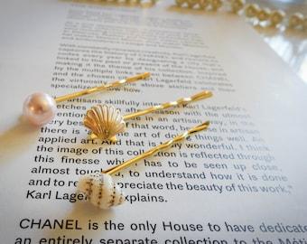Set of 3 - Gold Hair Pin Shell hair pin Pearl hair pin Gold bobby pin Women hair accessory Women Gift mom Birthday Gift best friend