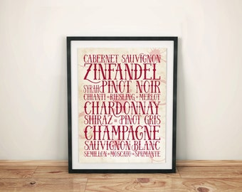 Wine Poster: Different types of wine - typographic print, parchment-style with wine stain affect.