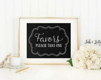 Favors Please Take One Chalkboard Sign - Wedding Print - Wedding Favor Sign - Rustic Wedding Decor - 8x10 Printable - Instant Download