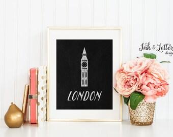 London Chalkboard Wall Decor - London Print - Big Ben Clock - Traveler Gift - London Art - 8x10 - Instant Download