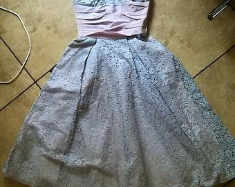 50s Pink Party Dress / 50s Prom Dress / 50s Pink Strapless Dress / Rockabilly Pin Up Dress