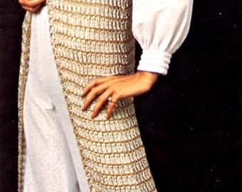 1960's Boho Chic Full Length Vest & Hat Crochet Pattern Instant Download PDF