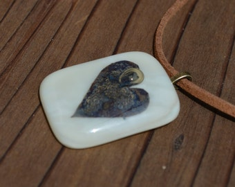 Vanilla color Fused Glass Pendant with a metal Heart insert