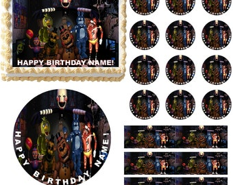 Five Nights at FREDDY'S Edible Cake Topper Image, Edible Frosting Sheet, Cake Decoration, FNAF Cake, FNAF Cupcakes, Five Nights at Freddys