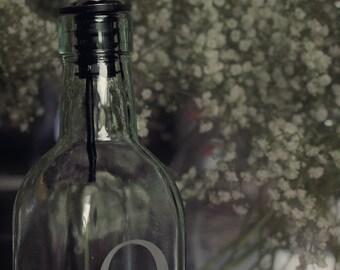 Olive Oil Bottle / Oil and Vinegar Set / Oil & Vinegar Dispenser / Olive Oil Dispenser / Etched Glass / Personalized Cruet / Oil and Vinegar