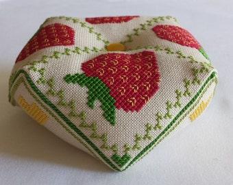 Strawberry Biscornu cross stitch - pattern only
