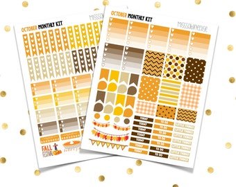 OCTOBER Monthly Kit // Brown Orange (Printable PDF) Erin Condren Scrapbooking Plum Paper Planner Filofax Inkwell Press Stickers Fall Autumn