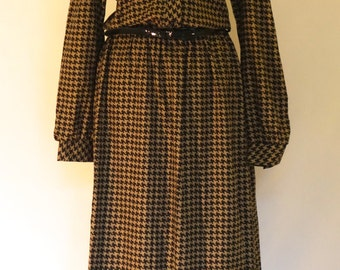 SECRETARY CHIC Vintage 1980's, taupe & black dogtooth pattern dress with necktie UK 8 - 10