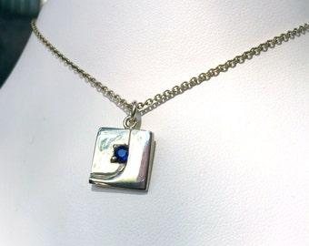 Sterling Silver Sapphire Pendant - Small Pendant - Silver Necklace - Silver and Sapphire - Small Sapphire Pendant