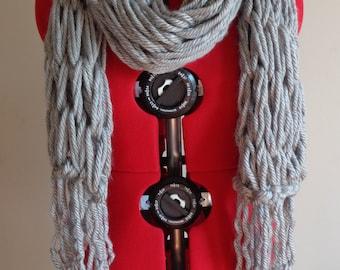 Arm Knit Scarf, Arm Knit Tassel Scarf, Gray Arm Knit Scarf, Handmade Chunky Scarf