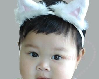cat ears headband, toddler halloween costume,white kitten ear headband,cosplay cat ears,kids cat costume,Aristocats ears, halloween