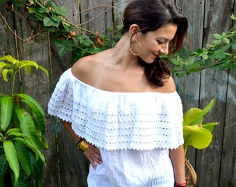 Authentic Handmade Mexican Peasant Blouse // White Mexican Blouse // Peasant Mexican Blouse