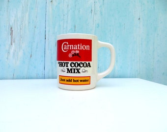 1980s Carnation Hot Cocoa Coffee Mug with Great Old School Design . 80s Graphic design Hot Chocolate Cup Red White Mix