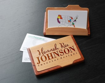 Personalized Business Card Holder, Custom Business Card Holder, Engraved Business Card Holder, Business Card holder --BCH-MR-HANNAHRAE