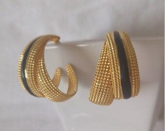 Bright Goldtone Textured Curls with Black Enamel Detail Big Curl Post Earrings