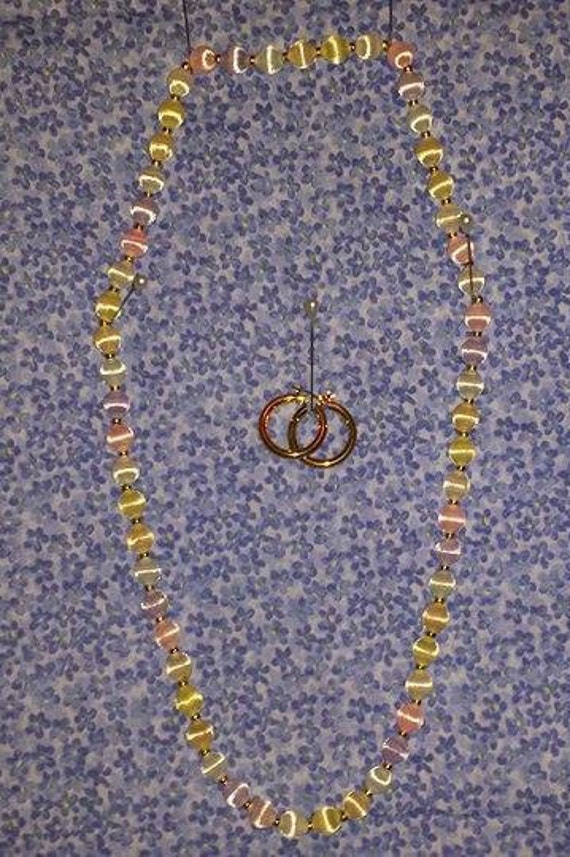 vintage silk covered bead necklace and gold tone hoop earings