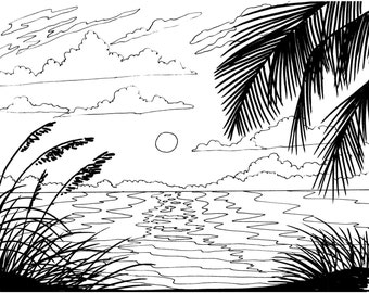 Palm tree coloring page beach art digital download adult