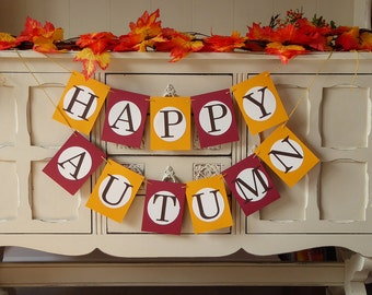 Happy autumn bunting banner garland, autumn home decoration, autumn party decoration