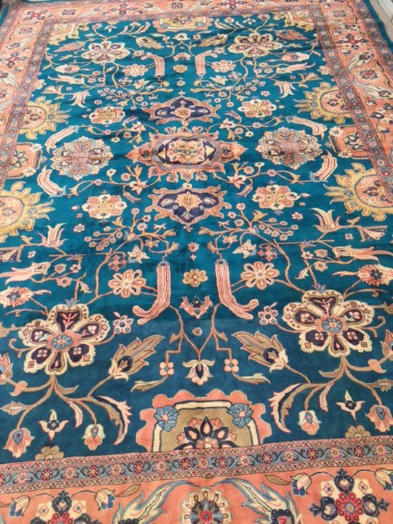 "13'4"" x 18'6"" Persian Mahal Oriental Rug - Hand Made - Very Fine - 100% Wool - Palace Size"